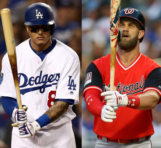 Go through the gallery to view Tony Paul's top 50 major-league free agents, headlined by Manny Machado (left) and Bryce Harper (right). Note: Age listed is the age in which they will spend most of the 2019 season.