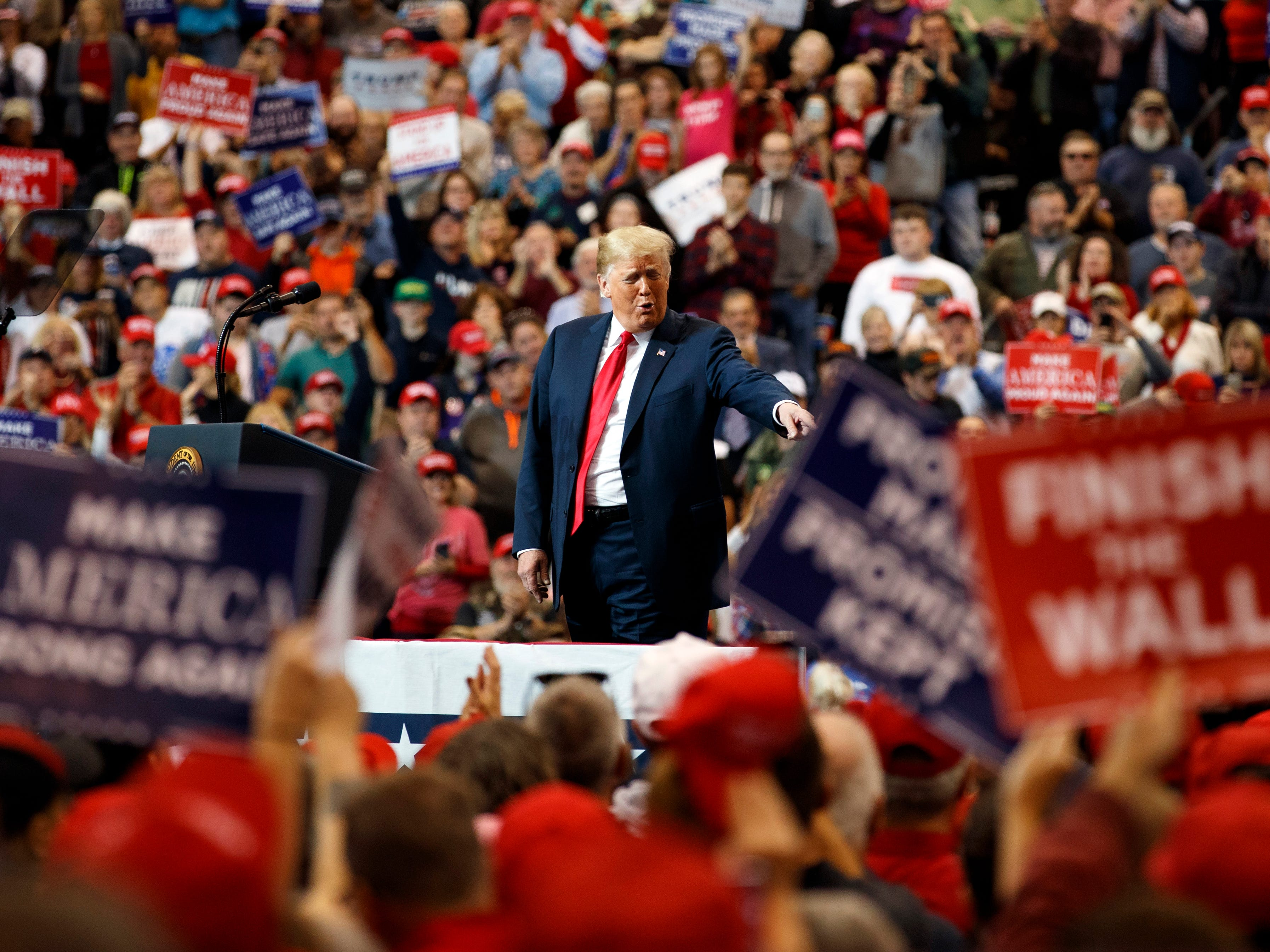 President Donald Trump arrives to speak at a campaign rally at the IX Center, in Cleveland, Monday, Nov. 5, 2018.