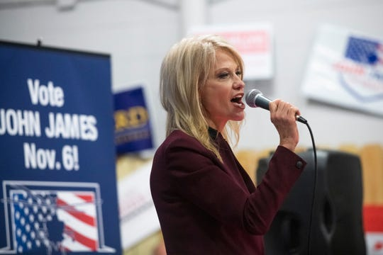 Counselor to the president Kellyanne Conway speaks during a Michigan Republican Party Get Out the Vote Rally on Sunday, Nov. 4, 2018 at Top Gun Shooting Sports Inc. in Taylor.