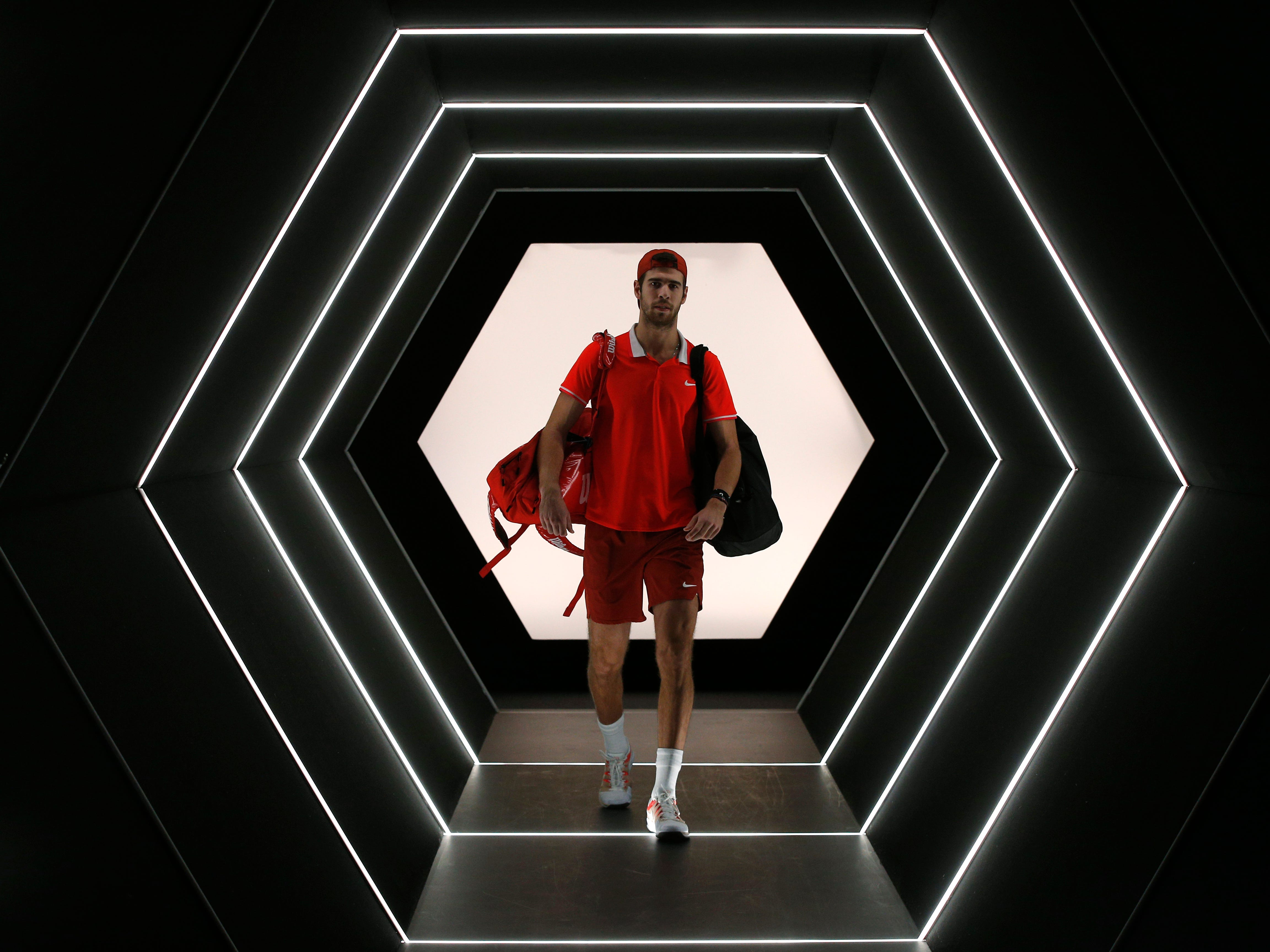 Karen Khachanov of Russia arrives for the final match of the Paris Masters tennis tournament against Novak Djokovic of Serbia at the Bercy Arena in Paris, France, Sunday, Nov. 4, 2018.