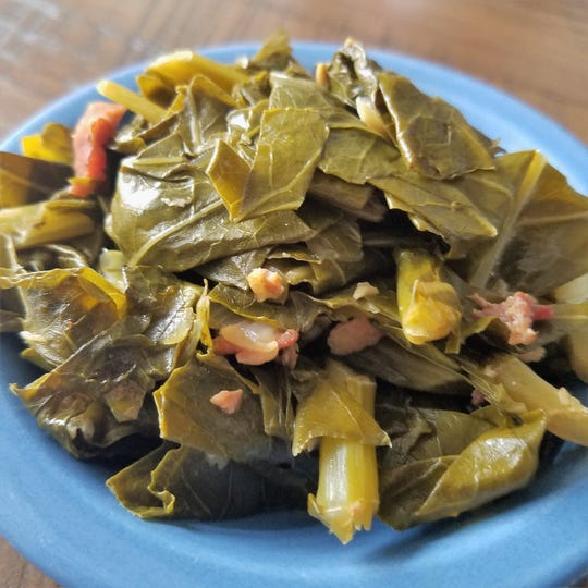 Hometown Roots serves classic Southern comfort foods, such as these braised collard greens with bacon.