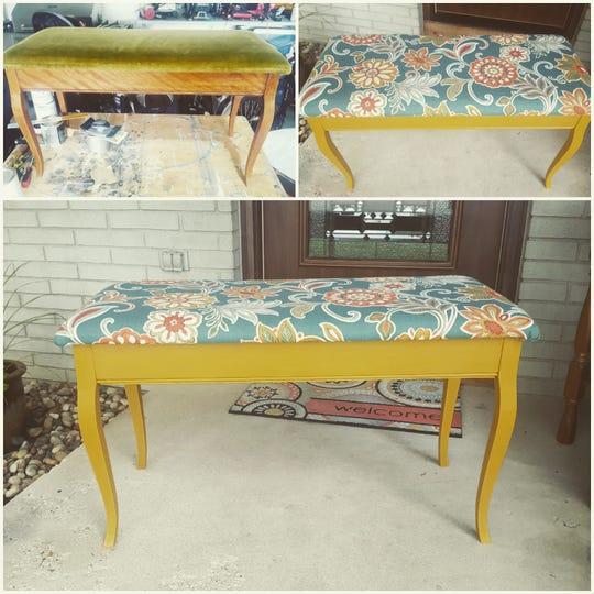 Holly Mueller transformed this old piano bench to give it a bright new look. Her items will be available for purchase at the Sew Right, LLC, booth.