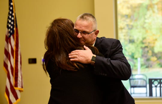 Ron Schumacher celebrates being named president of Terra State Community College on Nov. 5.