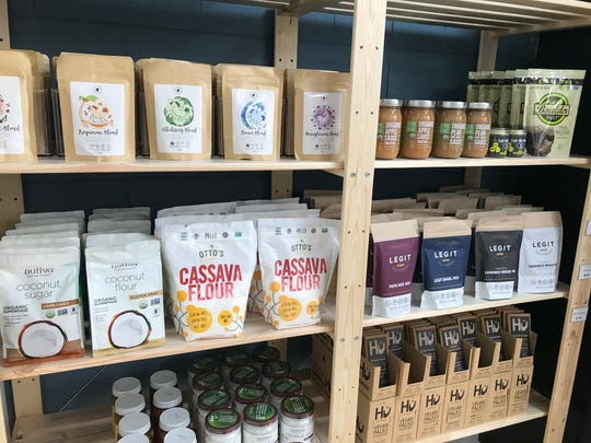 Flours and snacks meant for the paleo and keto diets at Explorado Market in Fort Collins