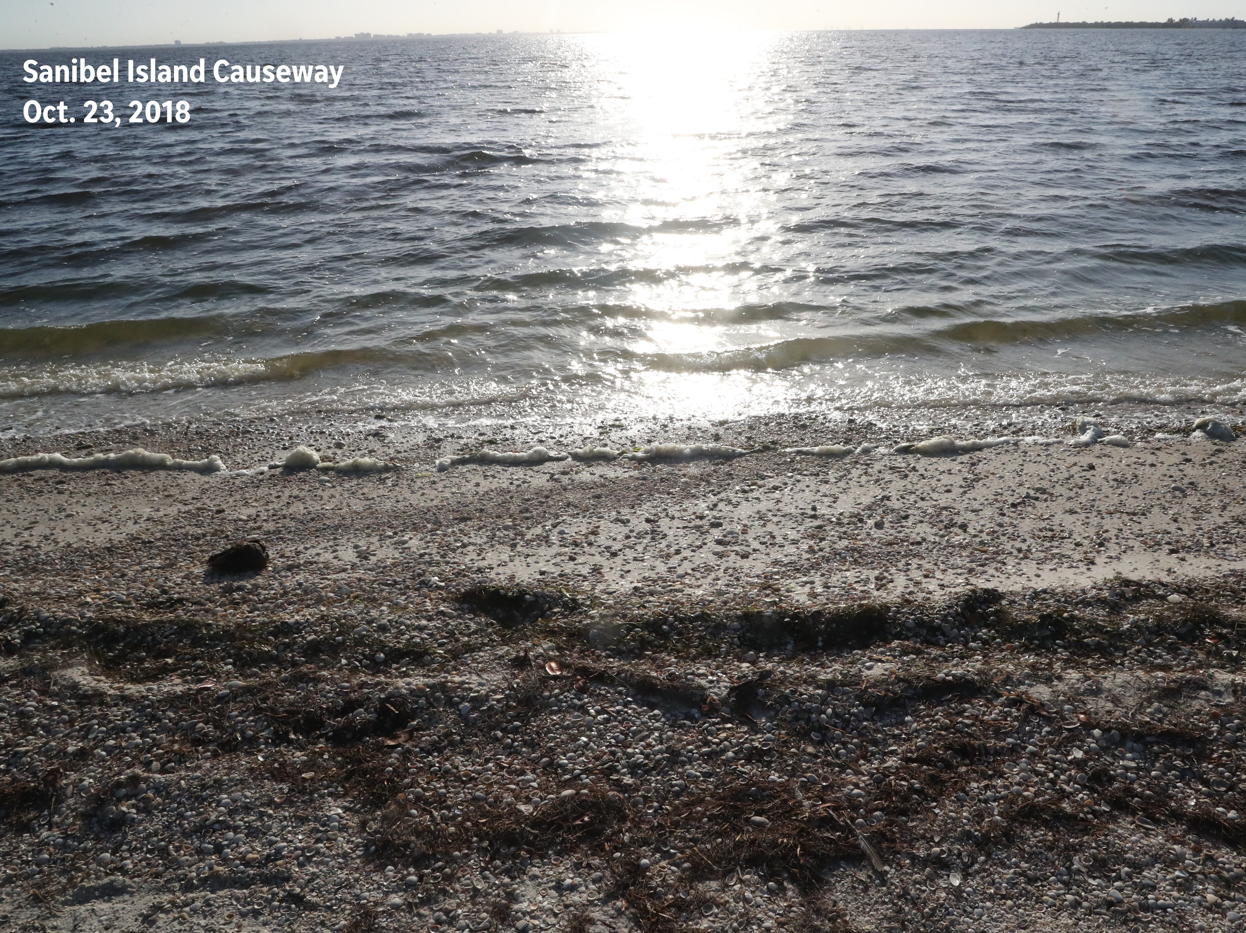 After: An image from the same beach on the Sanibel Island Causeway — free of red tide — was recaptured on Oct. 23, 2018.