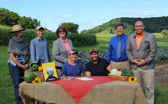 Front (L to R): Katy Szapa, Apprentice; John Middleton, Owner, Fazenda Boa Terra. Back (L to R): Claire Strader, Educator, FairShare CSA Cooperative; Julie Dawson, Professor, UW-Madison Dept. of Horticulture; Debbie Schanke, Apprenticeship Training Representative, DWD; B.J. Dernbach, Assistant Deputy Secretary, DWD; and Joshua Johnson, Chief of Field Operations for Apprenticeship, DWD.