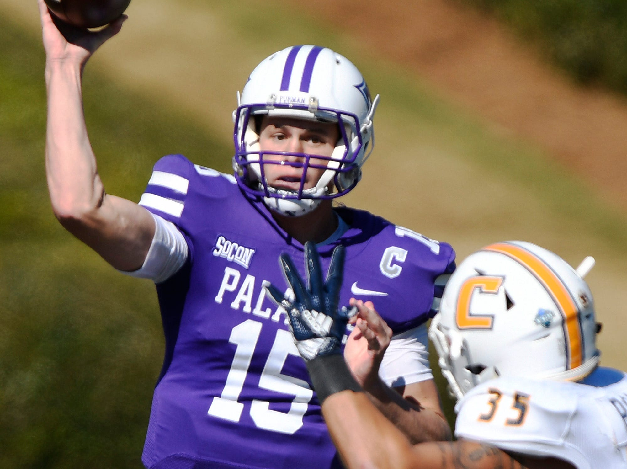 Furman quarterback Harris Roberts (15) threw five touchdown passes in the Paladins' 35-30 win over Mercer on Saturday