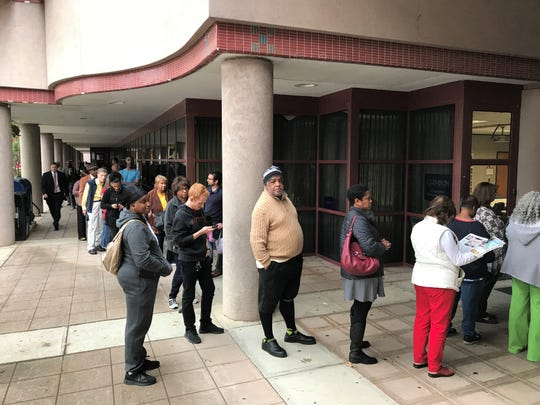 A long line of absentee voters outside Greenville County Square on Monday.