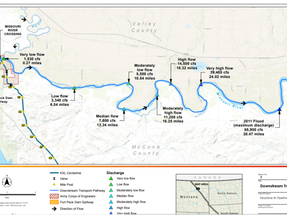 This map calculates how far oil would reach downstream based on the flows in the river at the time, in the event of a spill. Only very large releases of crude oil would be capable of being transported long distances more than 24 miles at discernable concentrations, according to TransCanada.