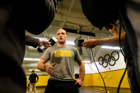 Iowa's Alex Marinelli talks with reporters during Hawkeye wrestling media day on Monday, Nov. 5, 2018, inside the Dan Gable Wrestling Complex at Carver-Hawkeye Arena in Iowa City.