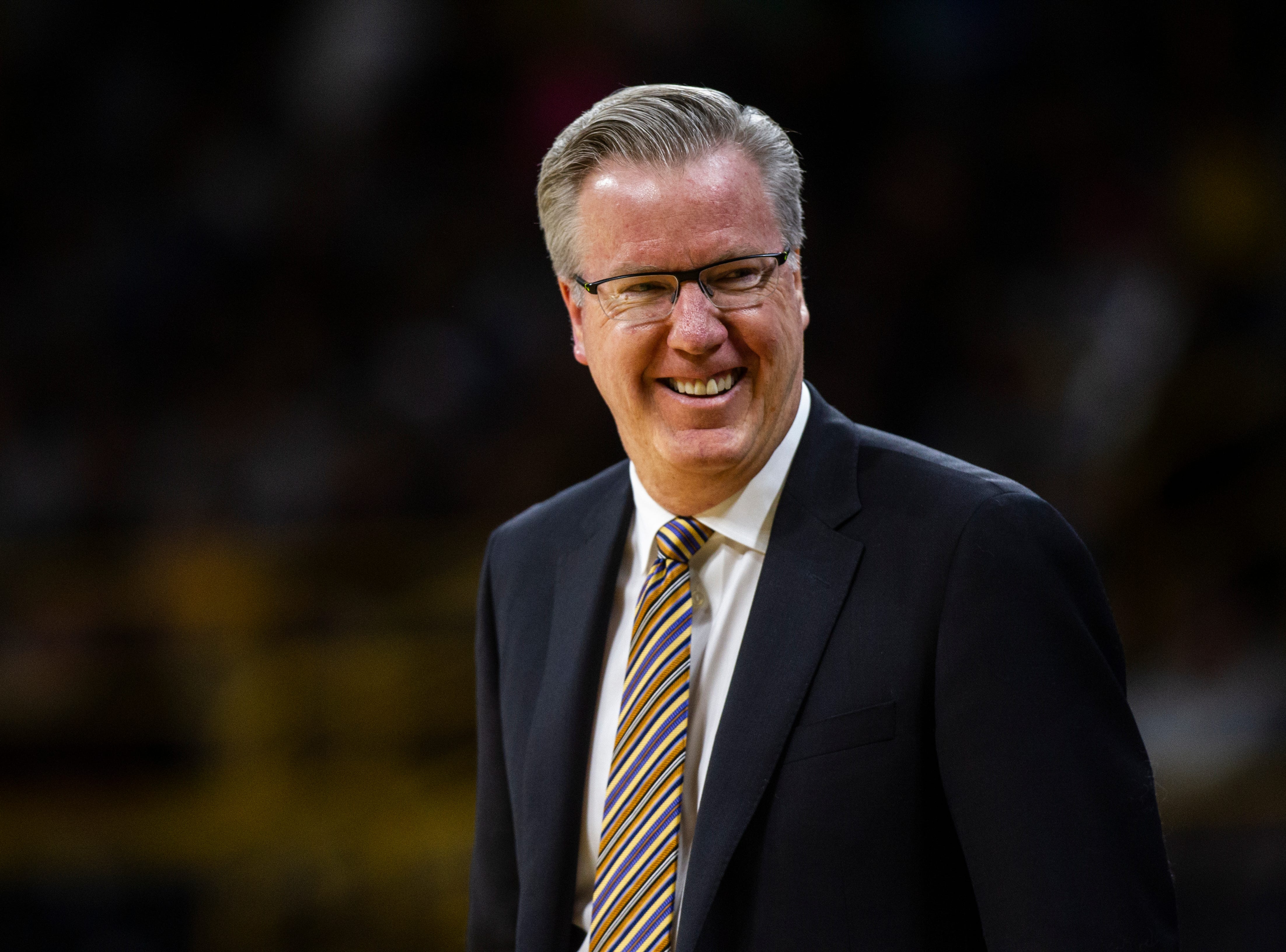 Iowa men's basketball head coach Fran McCaffery laughs during a men's basketball exhibition game on Sunday, Nov. 4, 2018, at Carver-Hawkeye Arena in Iowa City.