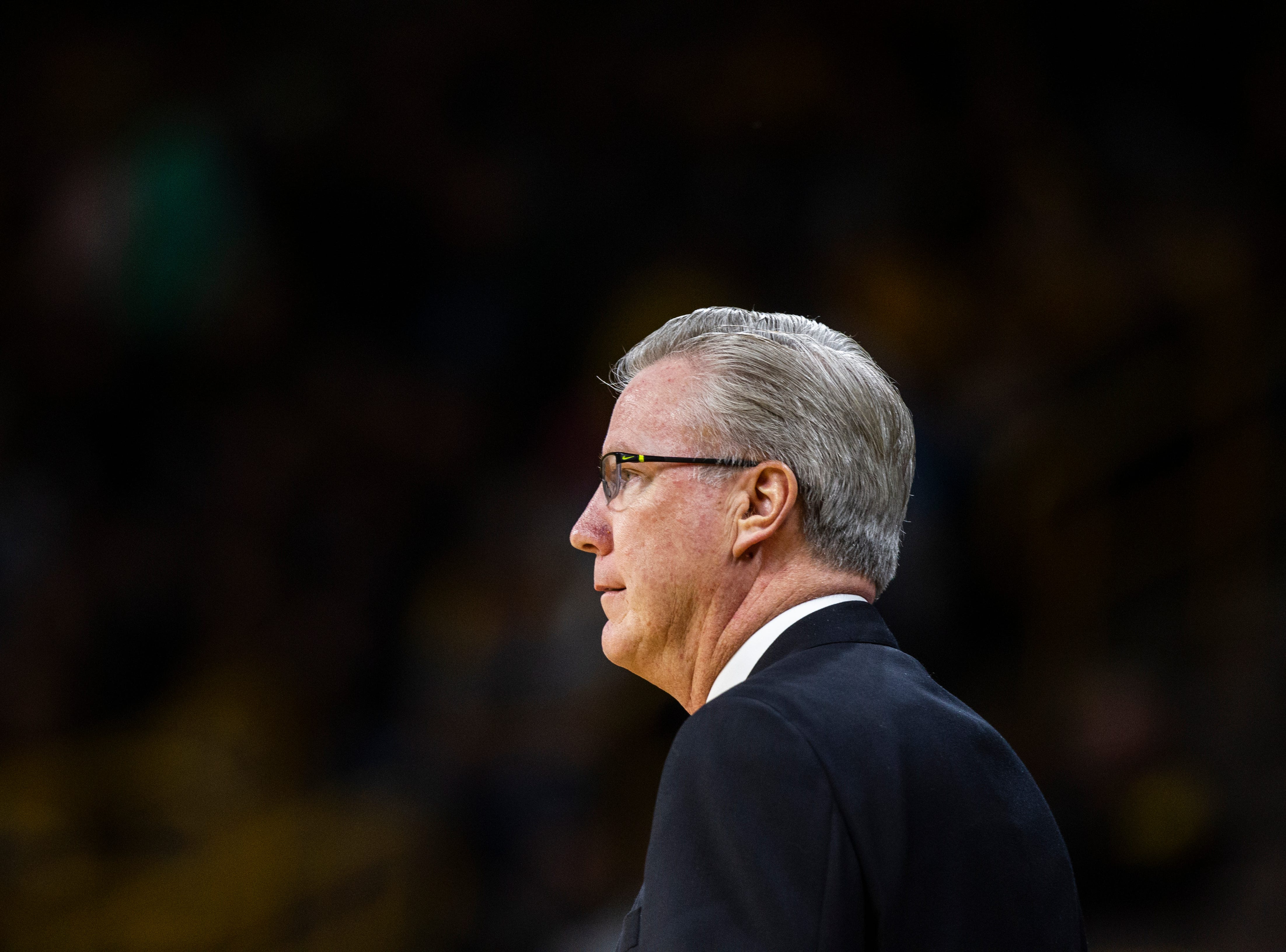 Iowa men's basketball head coach Fran McCaffery watches on during a men's basketball exhibition game on Sunday, Nov. 4, 2018, at Carver-Hawkeye Arena in Iowa City.