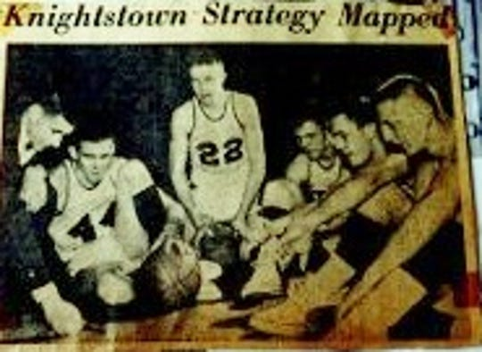 "Knightstown's starting five were featured in the ""Knightstown Banner"" in 1958."