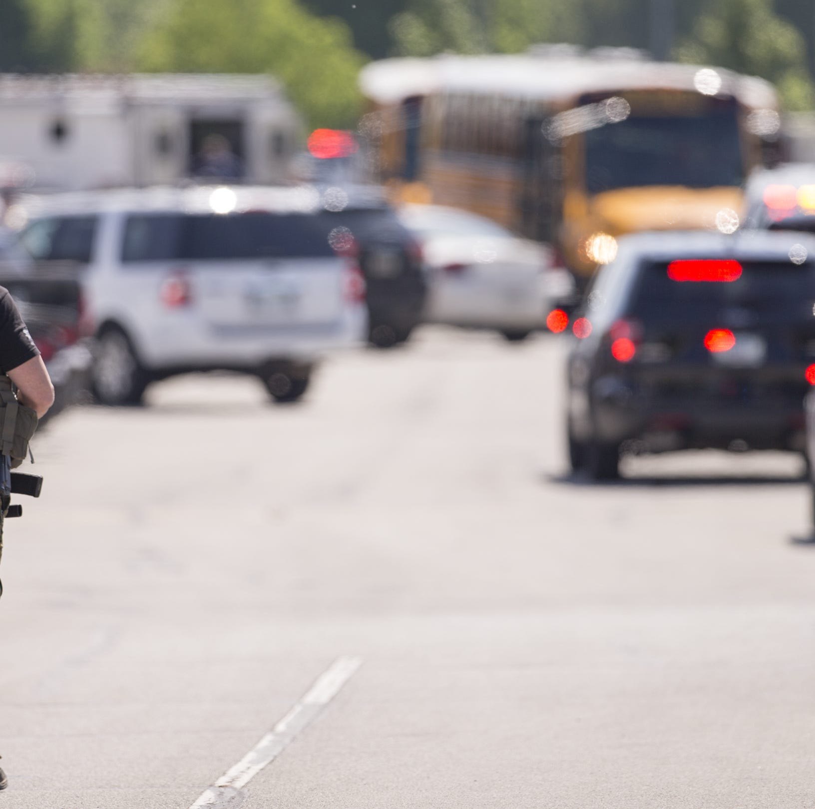 A large law enforcement presence was seen outside a shooting at or near Noblesville West Middle School, Noblesville, Friday, May 25, 2018. One person was taken into custody.