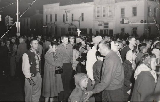 Residents of Knightstown swarmed Main Street outside Mattix Restaurant where the team ate its post-game meals.