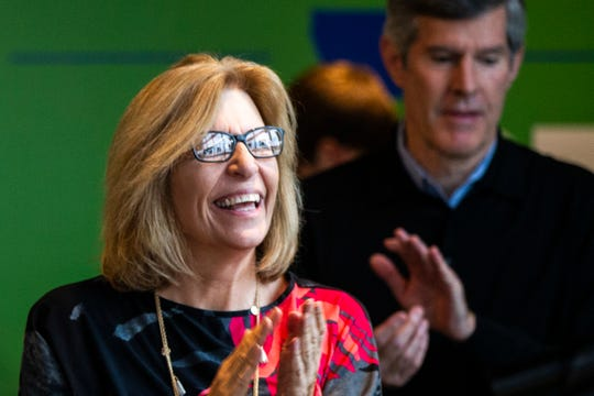 Rita Hart, Democratic candidate for lieutenant governor, is introduced during a rally on Sunday, Nov. 4, 2018, at Big Grove Brewery in Iowa City in this file photo. Hart announced her candidacy for the 2nd Congressional District on Tuesday, May 15, 2019.