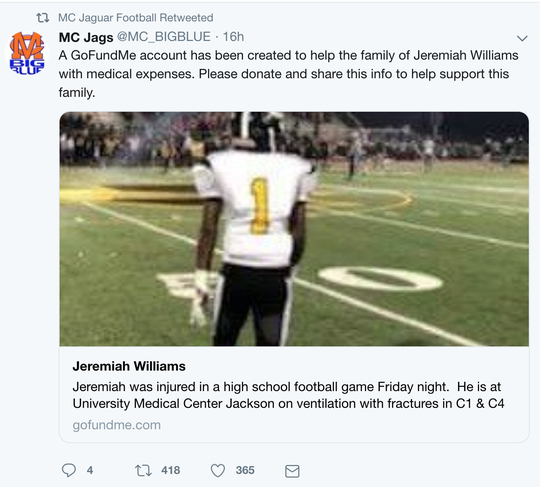 A GoFundMe account has been created to help with medical expenses for Greenville, Mississippi, football player Jeremiah Williams. Jeremiah was injured in a home game versus Madison Central on Friday, November 2, 2018.