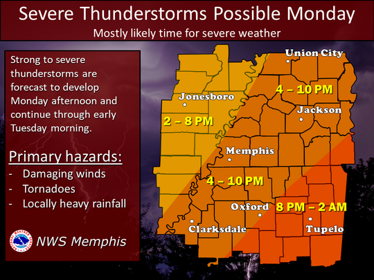 Potentially hazardous storms are expected to move into the Jackson area in the mid-to-late evening.