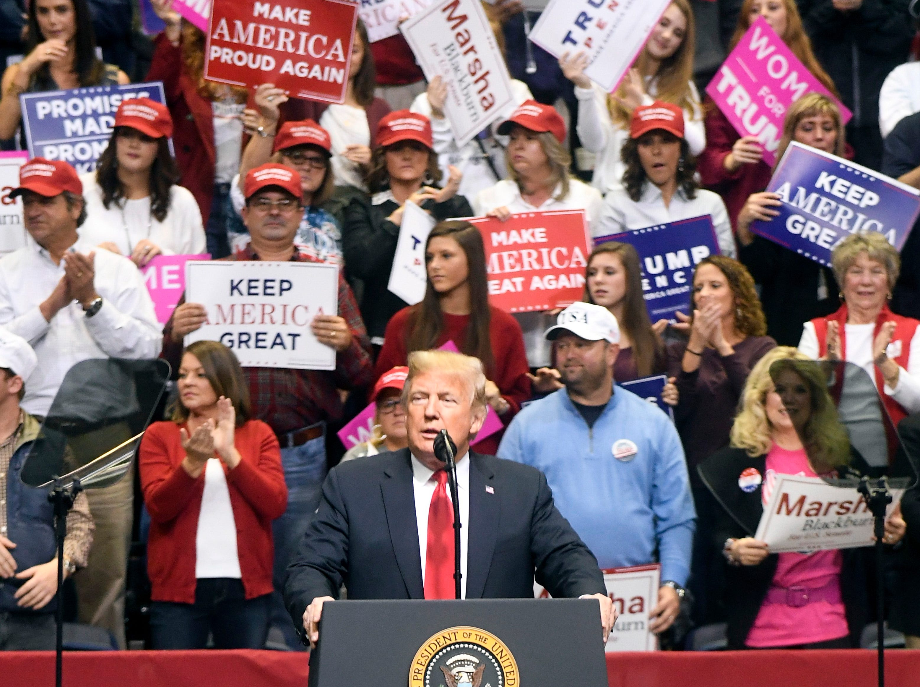 President Donald Trump welcomes the crowd at a rally for Rep. Marsha Blackburn at McKenzie Arena on Sunday, November 4, 2018.
