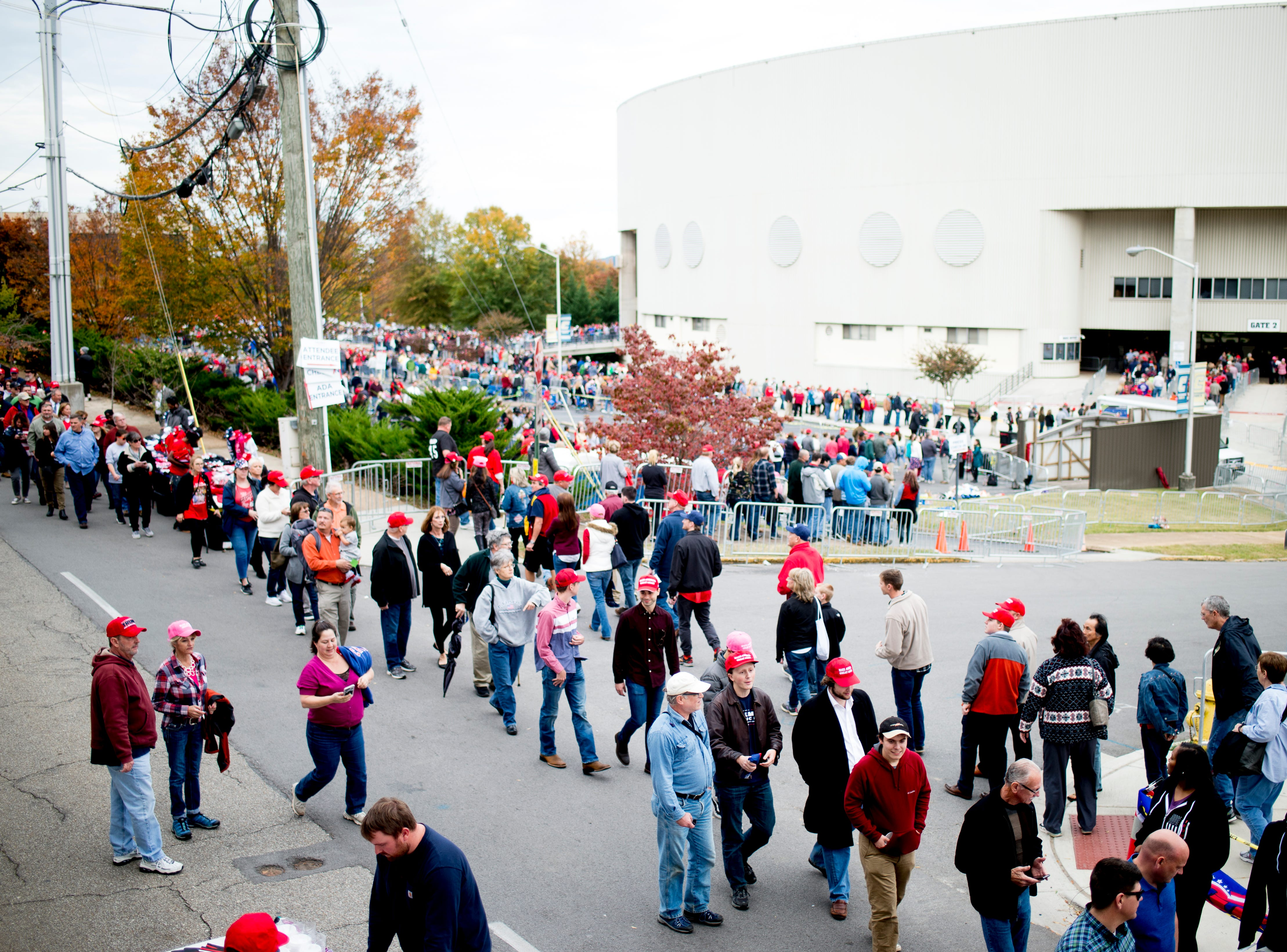 """Long lines form around the arena ahead of President Donald J. Trump's """"Make America Great Again"""" Rally at McKenzie Arena in Chattanooga, Tennessee on Sunday, November 4, 2018."""