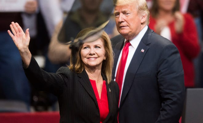 President Donald Trump supports Rep. Marsha Blackburn at a rally in Chattanooga, Tenn.