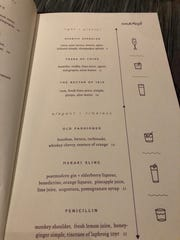The cocktail menu at Kefi.