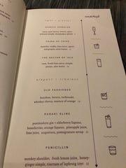 The cocktail menu at Kefi.
