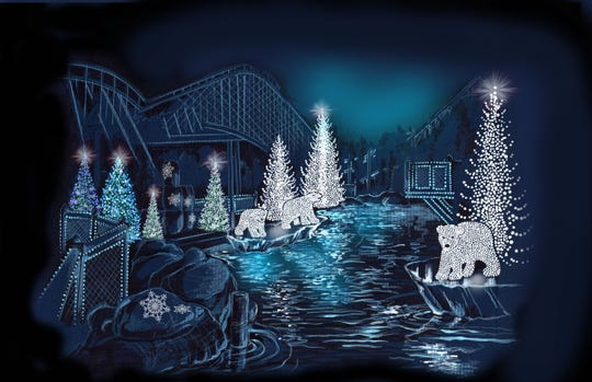 A rendering of Dollywood's new Christmas area, Glacier Ridge, which features a section with polar bears.