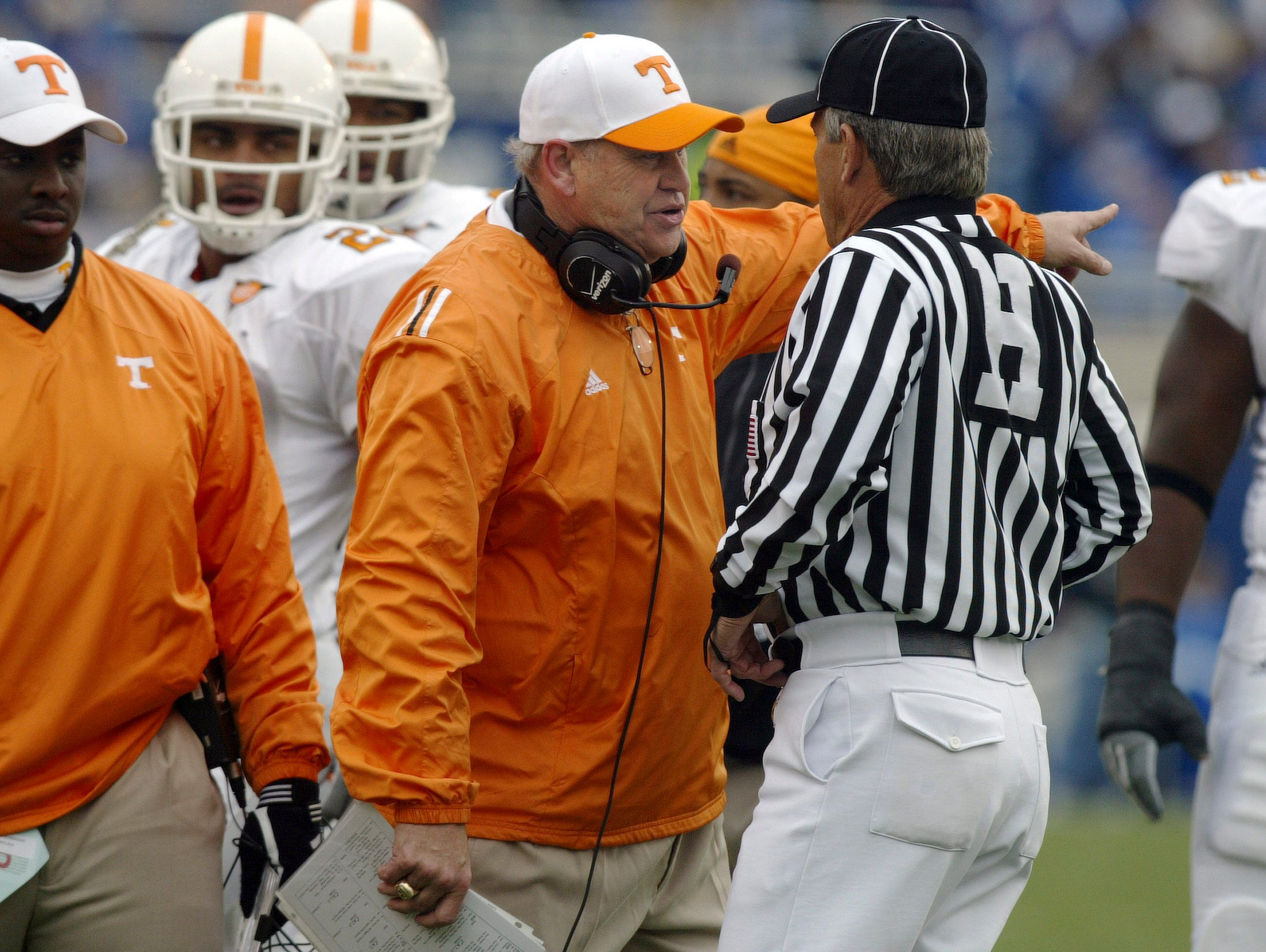 Tennessee coach Phillip Fulmer  expresses his views to the referee about a penalty against the Vols during their 27-8 win over  Kentucky. 11/26/05