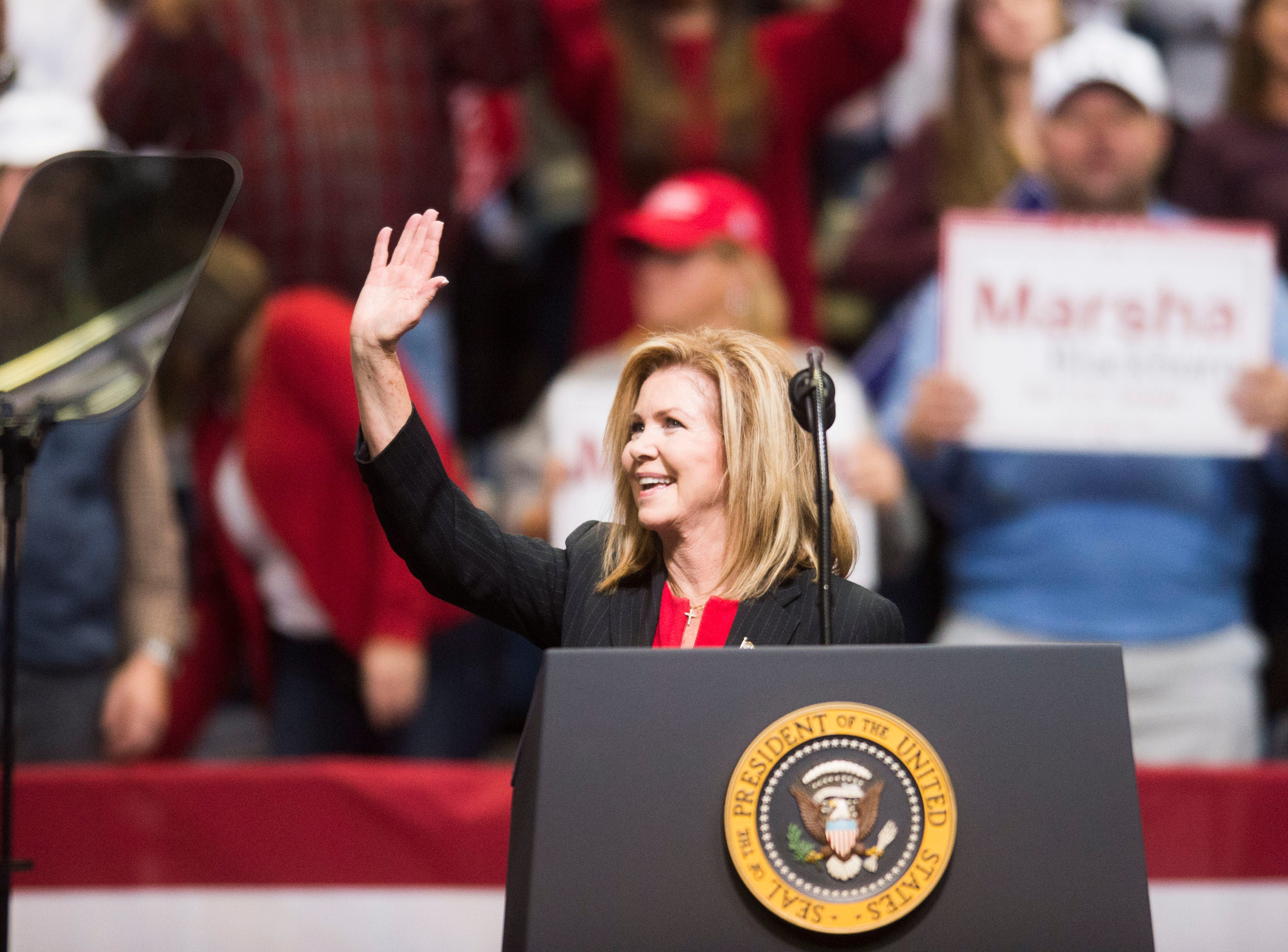 U.S. Rep. Marsha Blackburn speaks during a Donald Trump rally in support of her for the U.S. Senate at McKenzie Arena in Chattanooga, Sunday, Nov. 4, 2018.