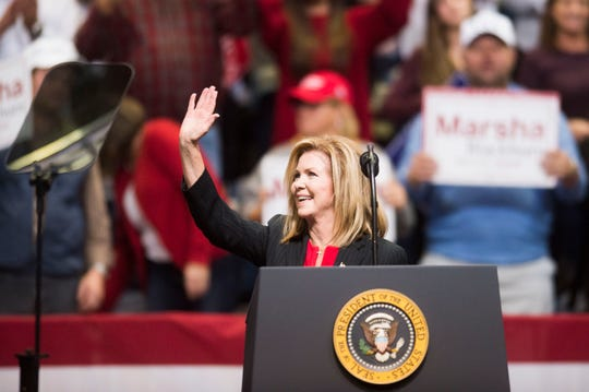 U.S. Rep. Marsha Blackburn speaks during a Donald Trump rally in support of her U.S. Senate campaign at McKenzie Arena in Chattanooga on Sunday.