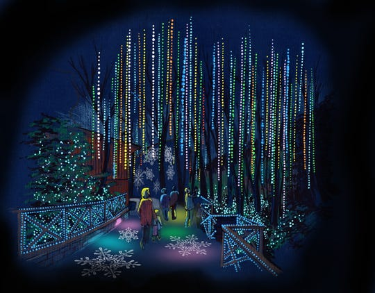 A rendering of Dollywood's new Christmas area, Glacier Ridge, and its Northern Lights section.