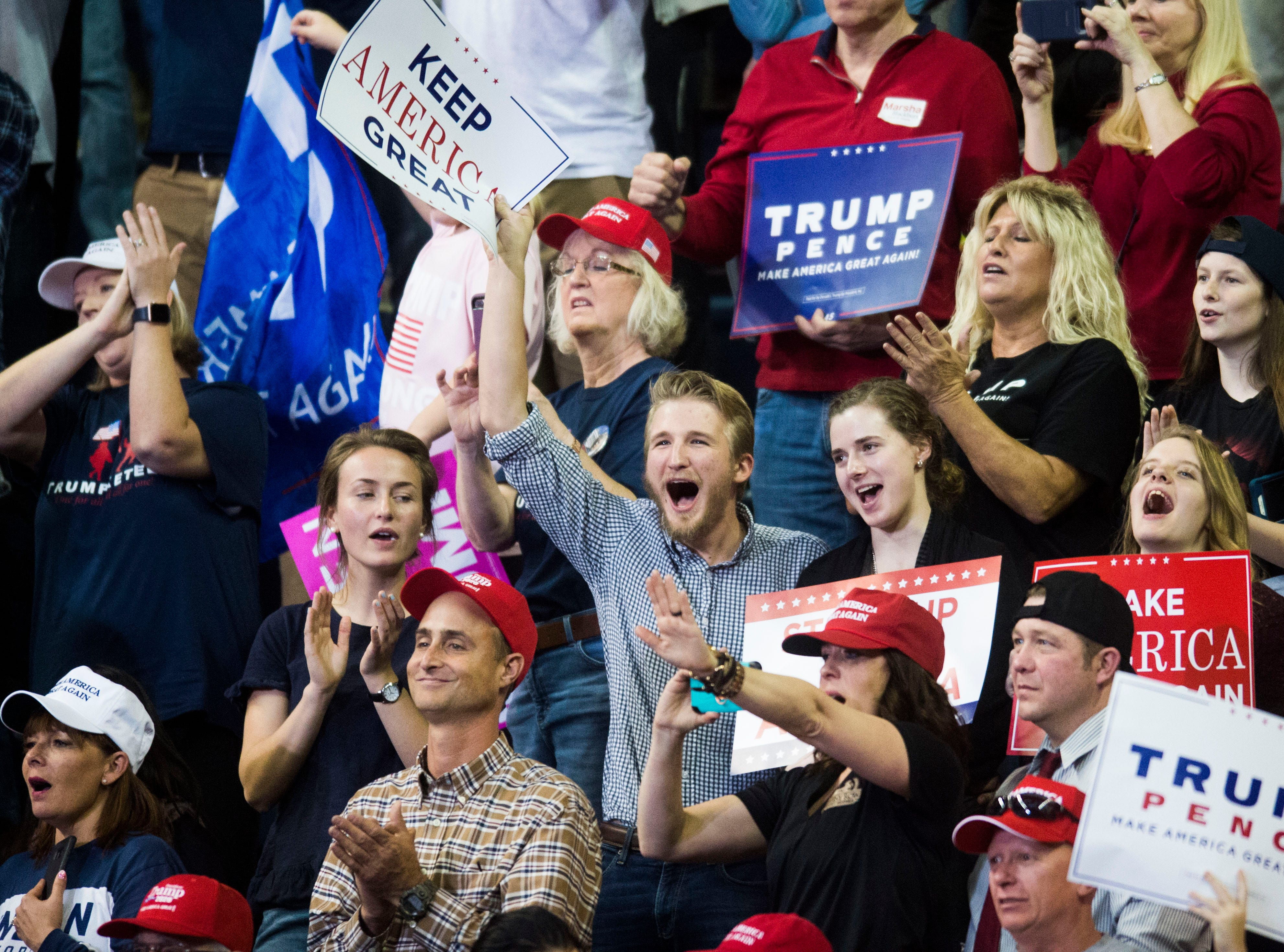 The crowd cheers during a Donald Trump rally in support of U.S. Rep. Marsha Blackburn for the U.S. Senate at McKenzie Arena in Chattanooga, Sunday, Nov. 4, 2018.
