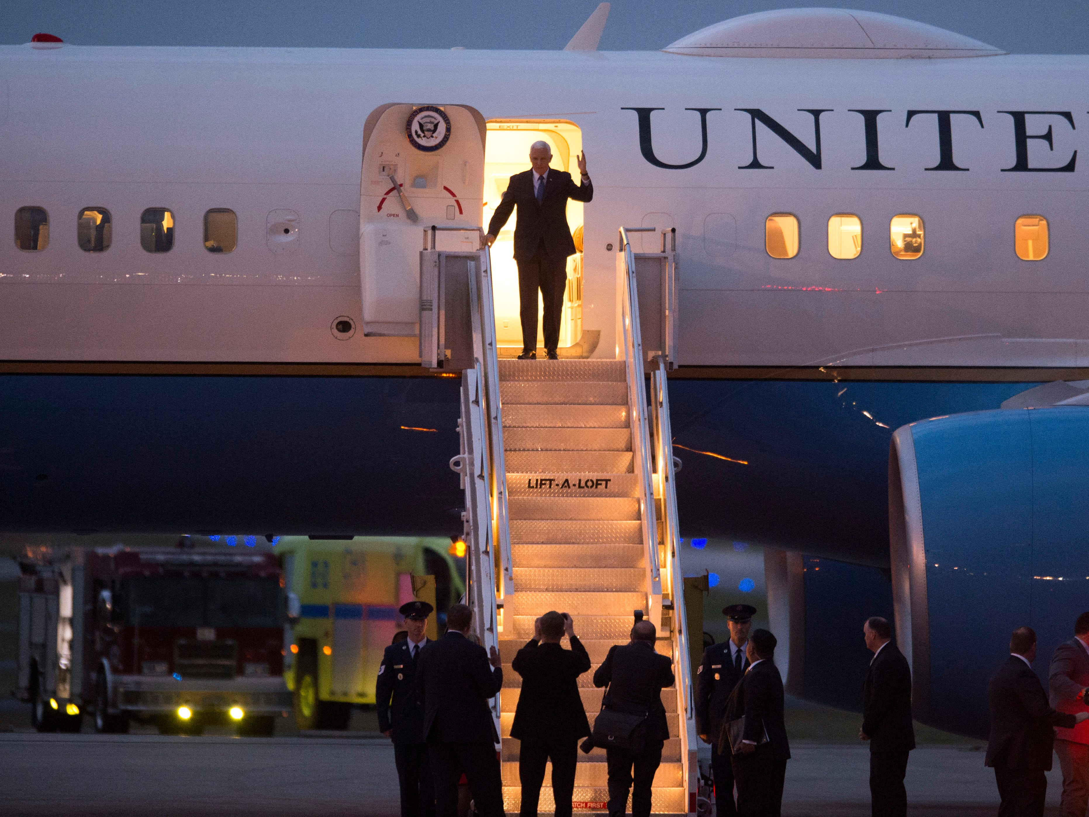 Vice President Mike Pence arrives to the Wilson Air Center on Air Force Two on Sunday, November 4, 2018.