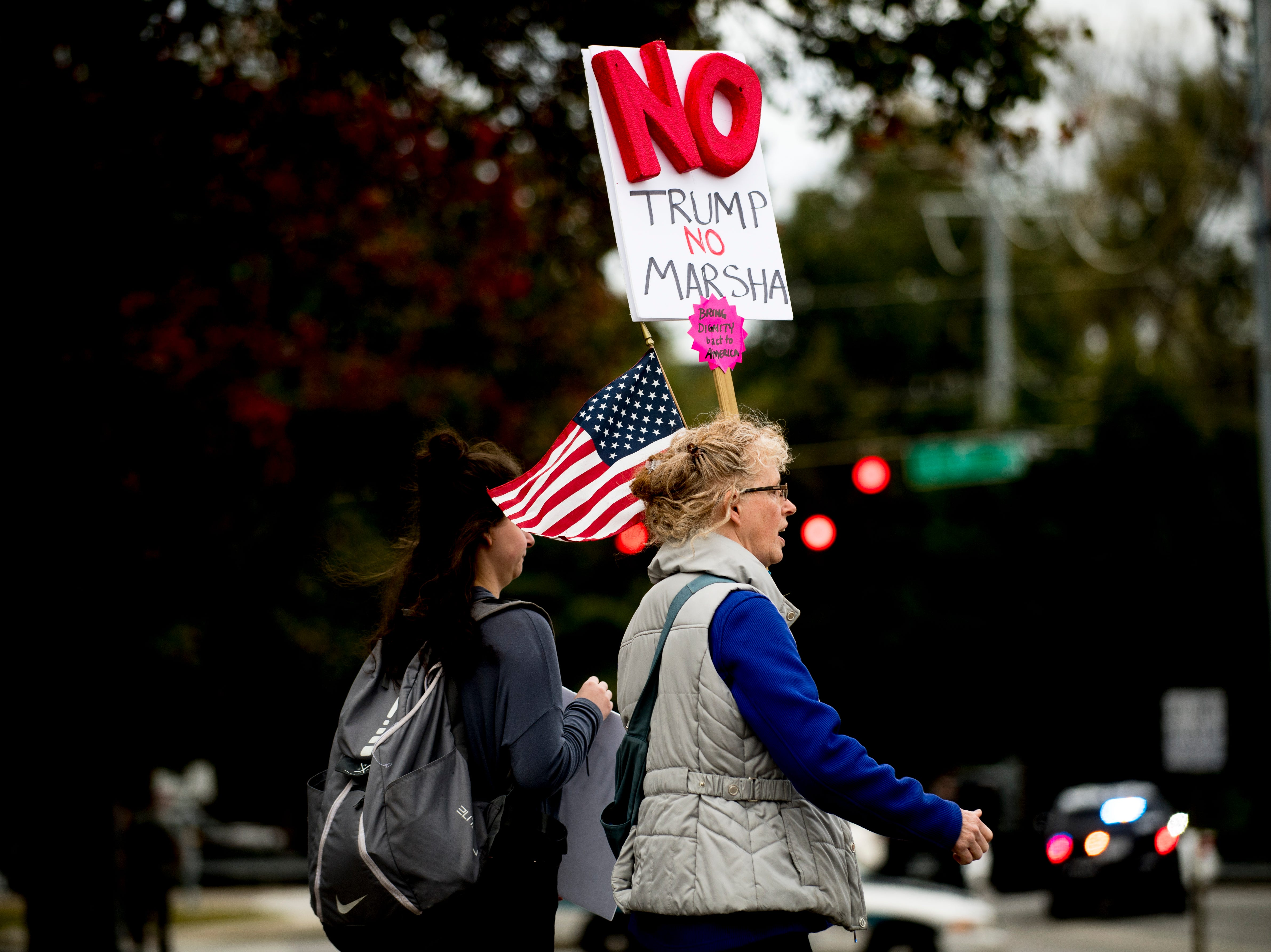 "Protestors arrive ahead of President Donald J. Trump's ""Make America Great Again"" Rally at McKenzie Arena in Chattanooga, Tennessee on Sunday, November 4, 2018."