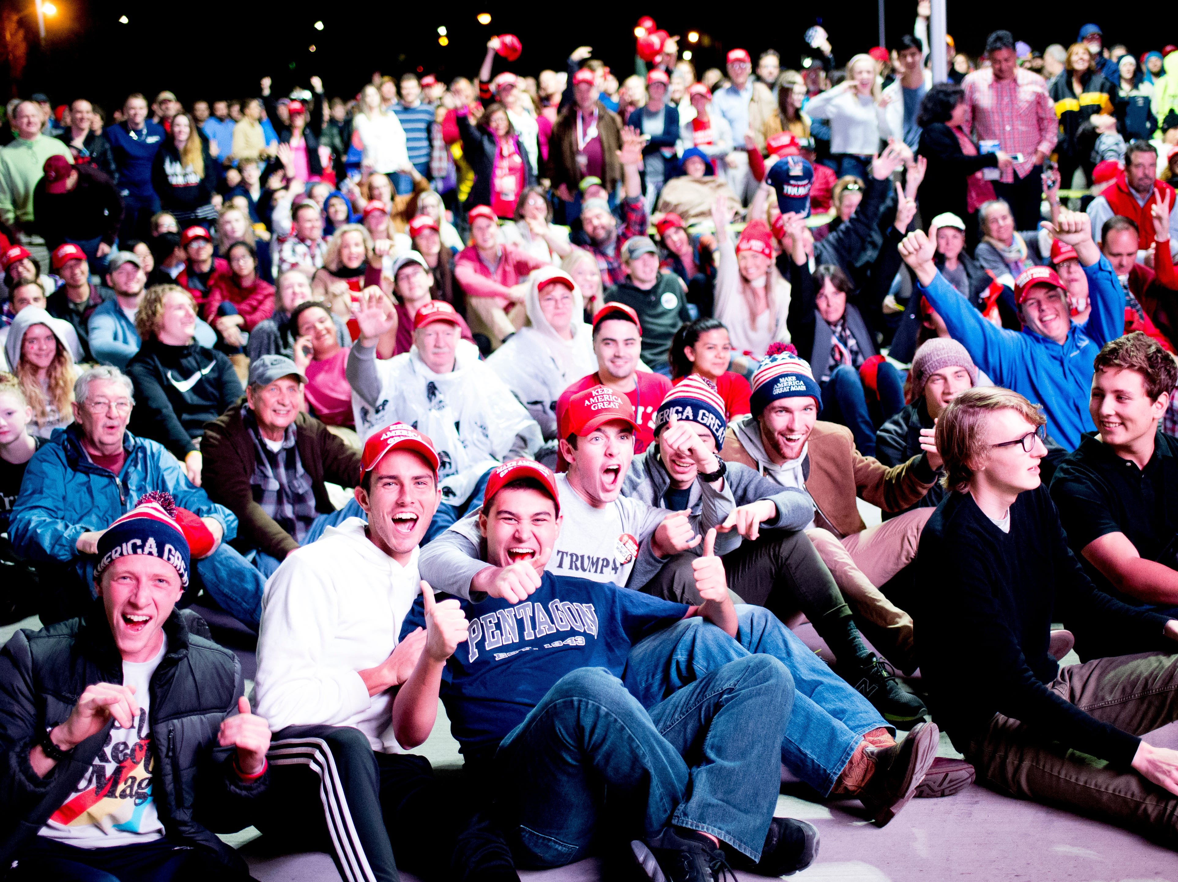 """Trump supporters cheer during President Donald J. Trump's """"Make America Great Again"""" Rally at McKenzie Arena in Chattanooga, Tennessee on Sunday, November 4, 2018."""