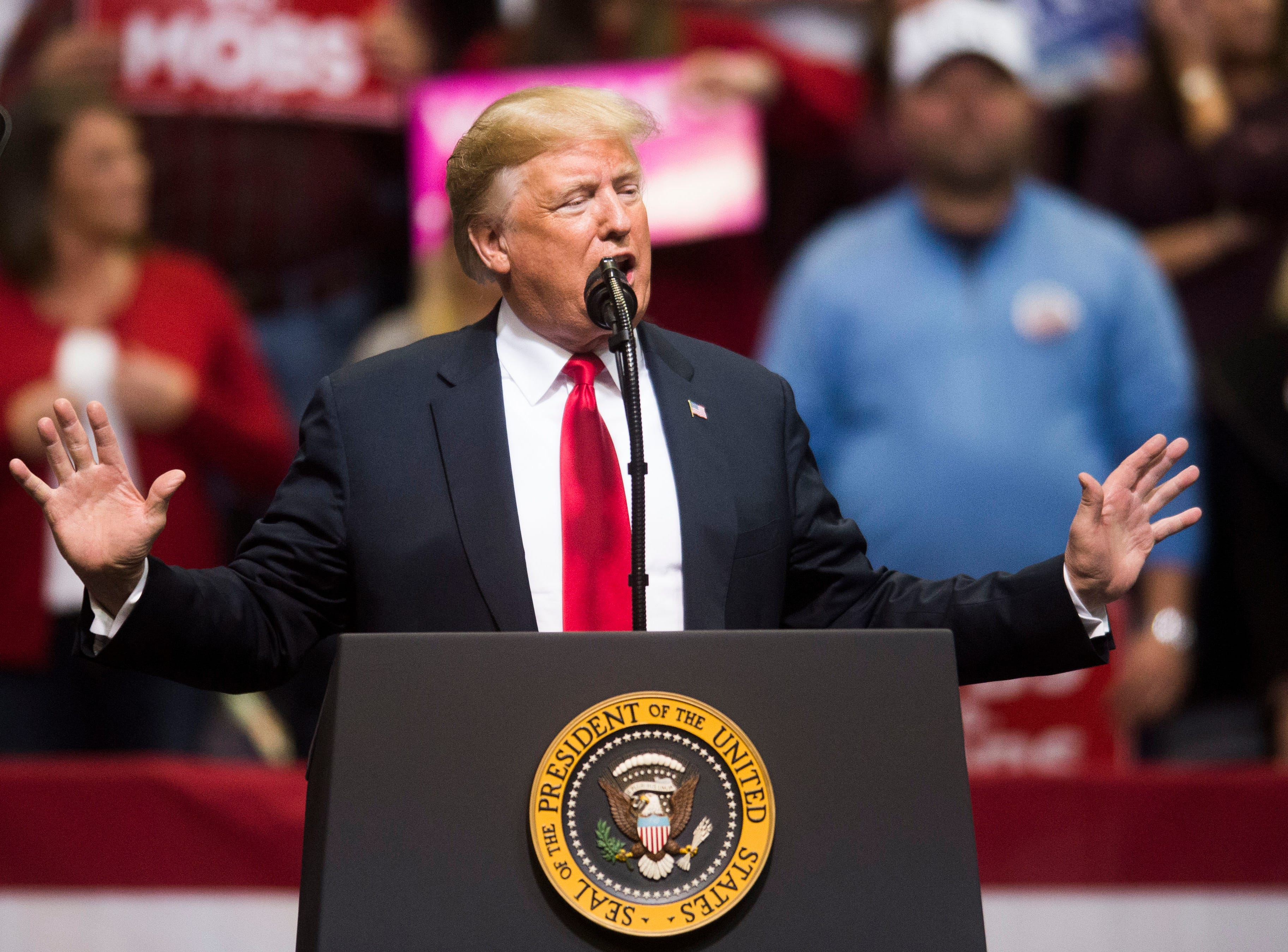 President Donald Trump speaks in support of U.S. Rep. Marsha Blackburn for the U.S. Senate at McKenzie Arena in Chattanooga, Sunday, Nov. 4, 2018.