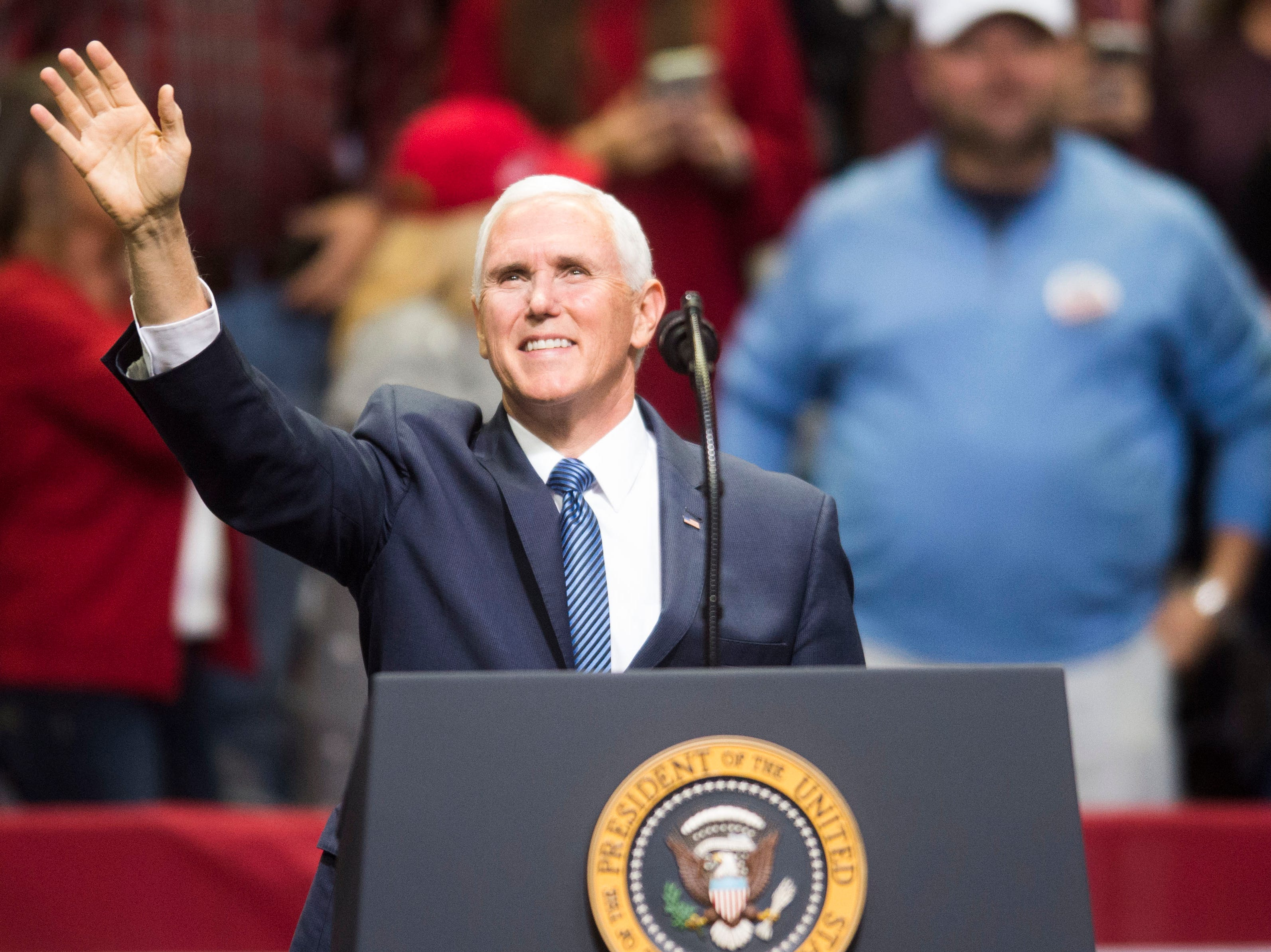 Vice President Mike Pence greets the crowd during a Donald Trump rally in support of U.S. Rep. Marsha Blackburn for the U.S. Senate at McKenzie Arena in Chattanooga, Sunday, Nov. 4, 2018.