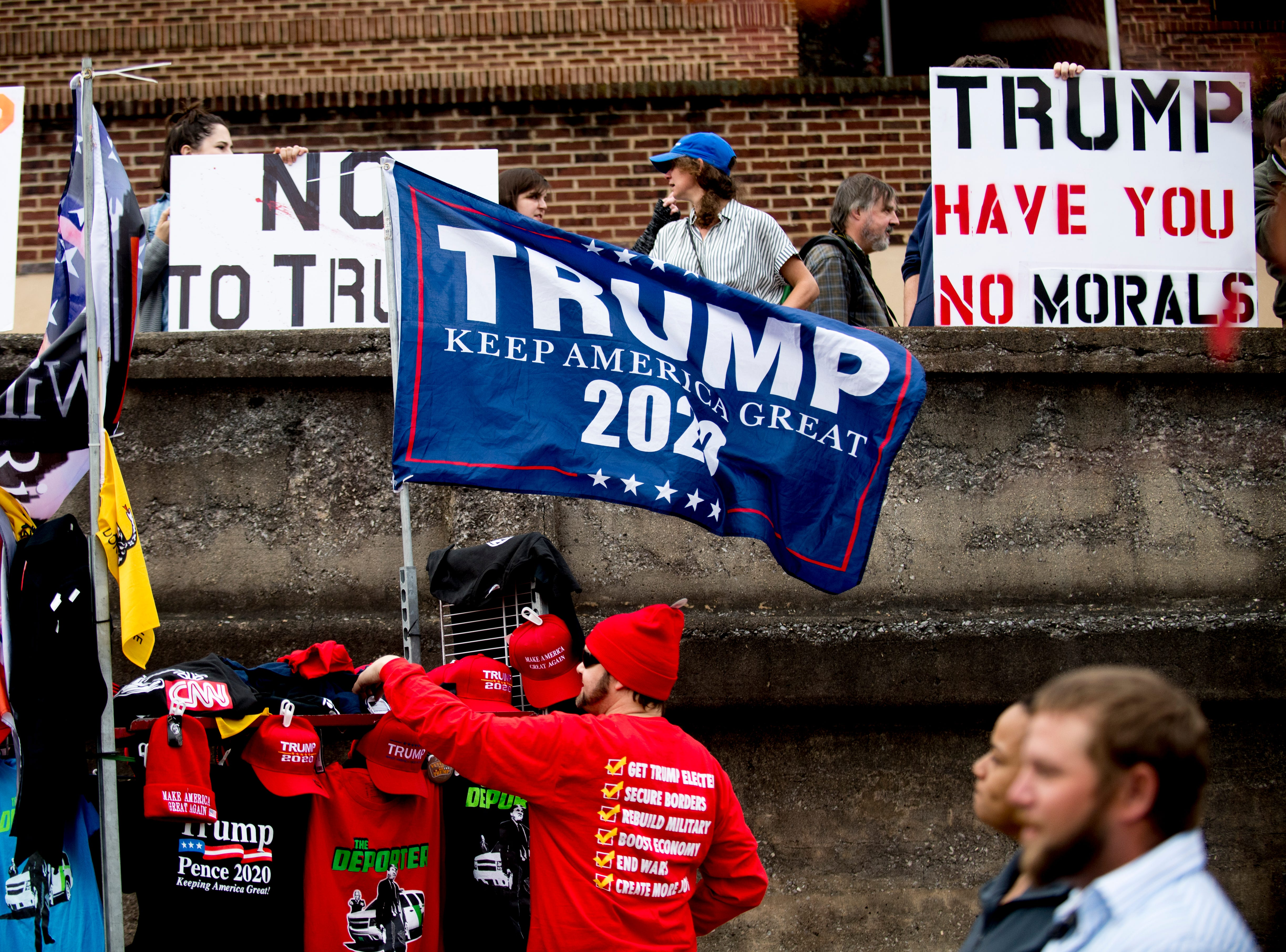 """Merchandise is sold ahead of President Donald J. Trump's """"Make America Great Again"""" Rally at McKenzie Arena in Chattanooga, Tennessee on Sunday, November 4, 2018."""