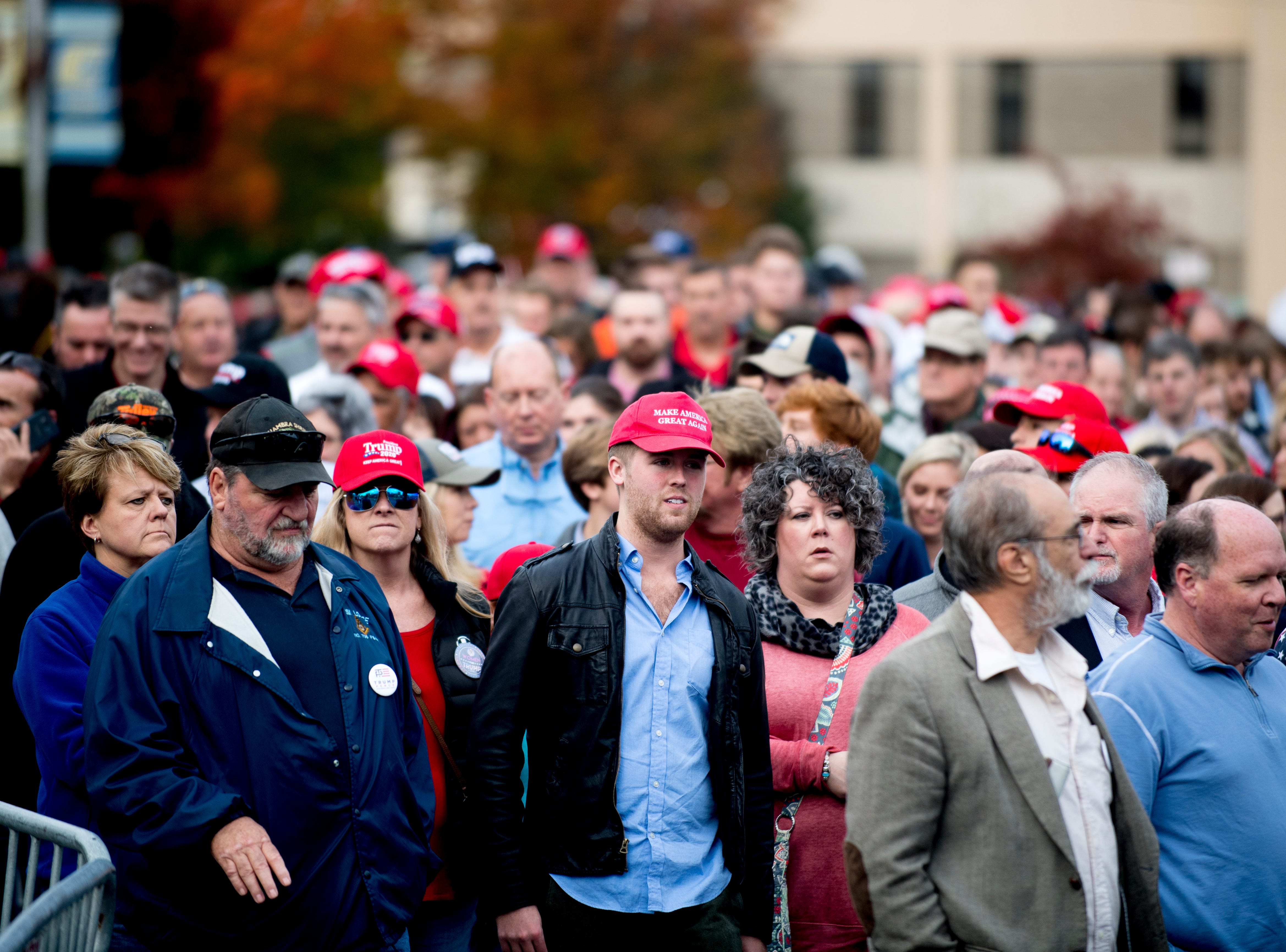 """Trump supporters wait in line ahead of President Donald J. Trump's """"Make America Great Again"""" Rally at McKenzie Arena in Chattanooga, Tennessee on Sunday, November 4, 2018."""