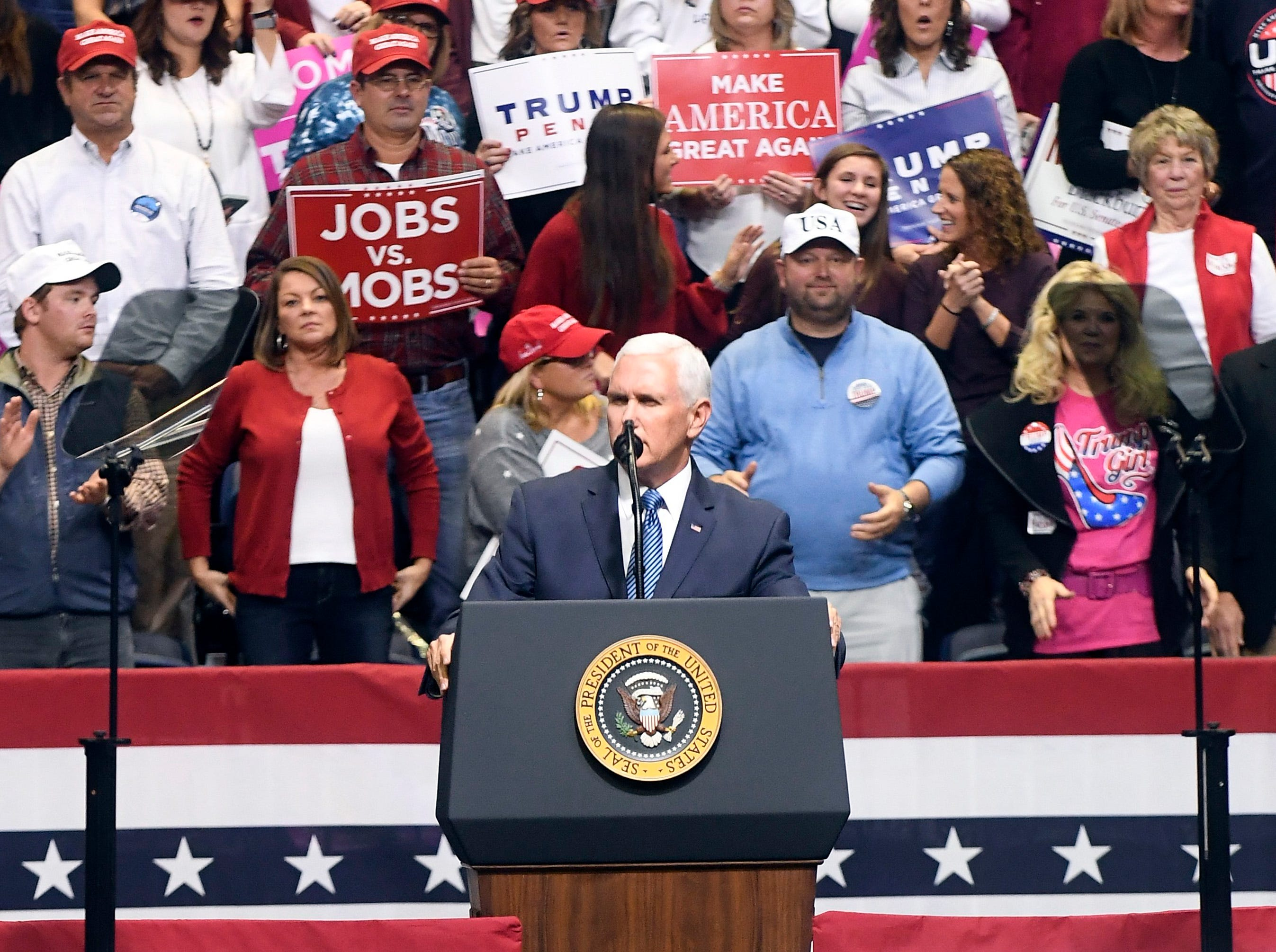 Vice President Mike Pence welcomes the crowd at a rally for Rep. Marsha Blackburn at McKenzie Arena on Sunday, November 4, 2018.