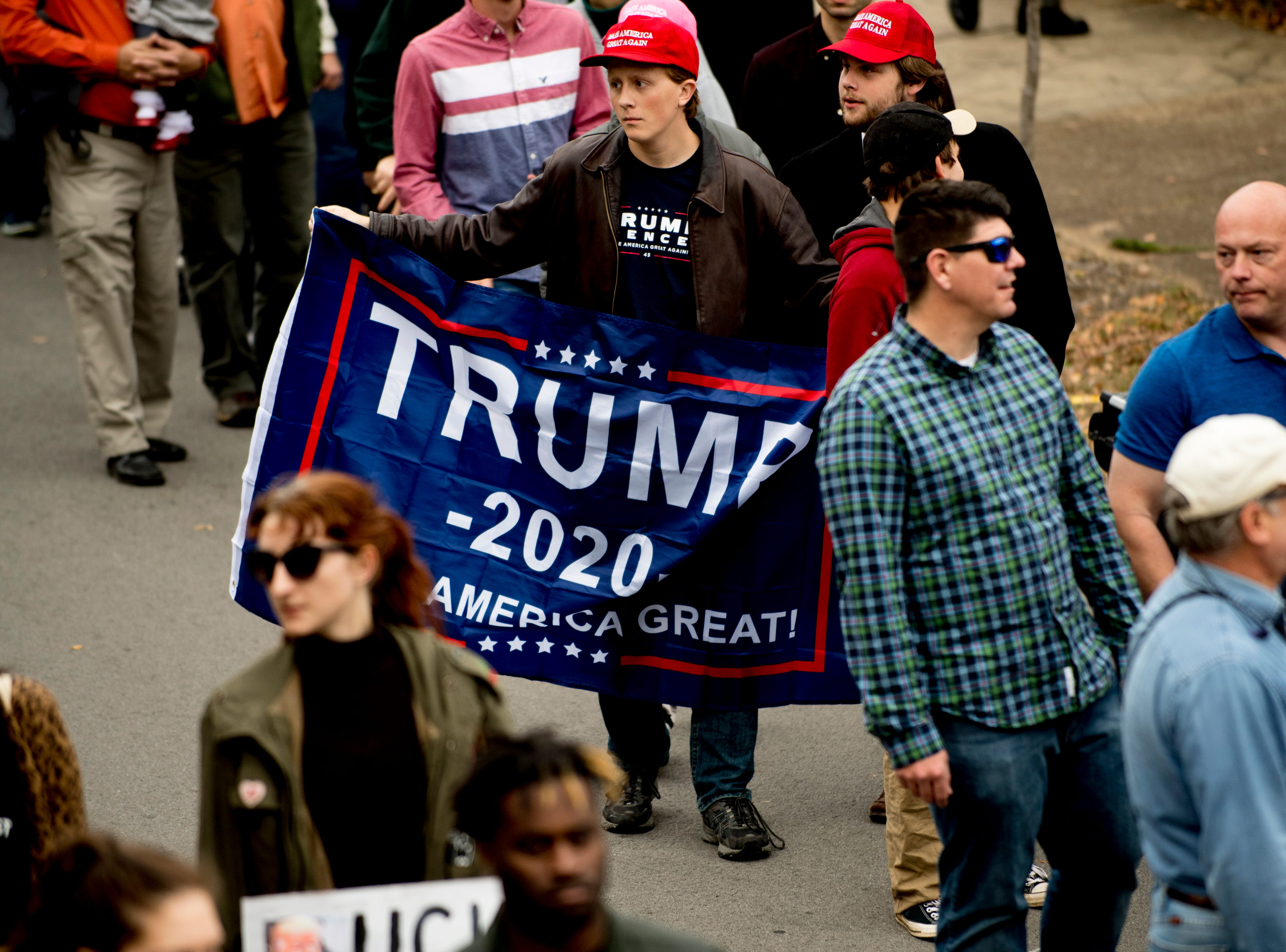 """Supporters ahead of President Donald J. Trump's """"Make America Great Again"""" Rally at McKenzie Arena in Chattanooga, Tennessee on Sunday, November 4, 2018."""
