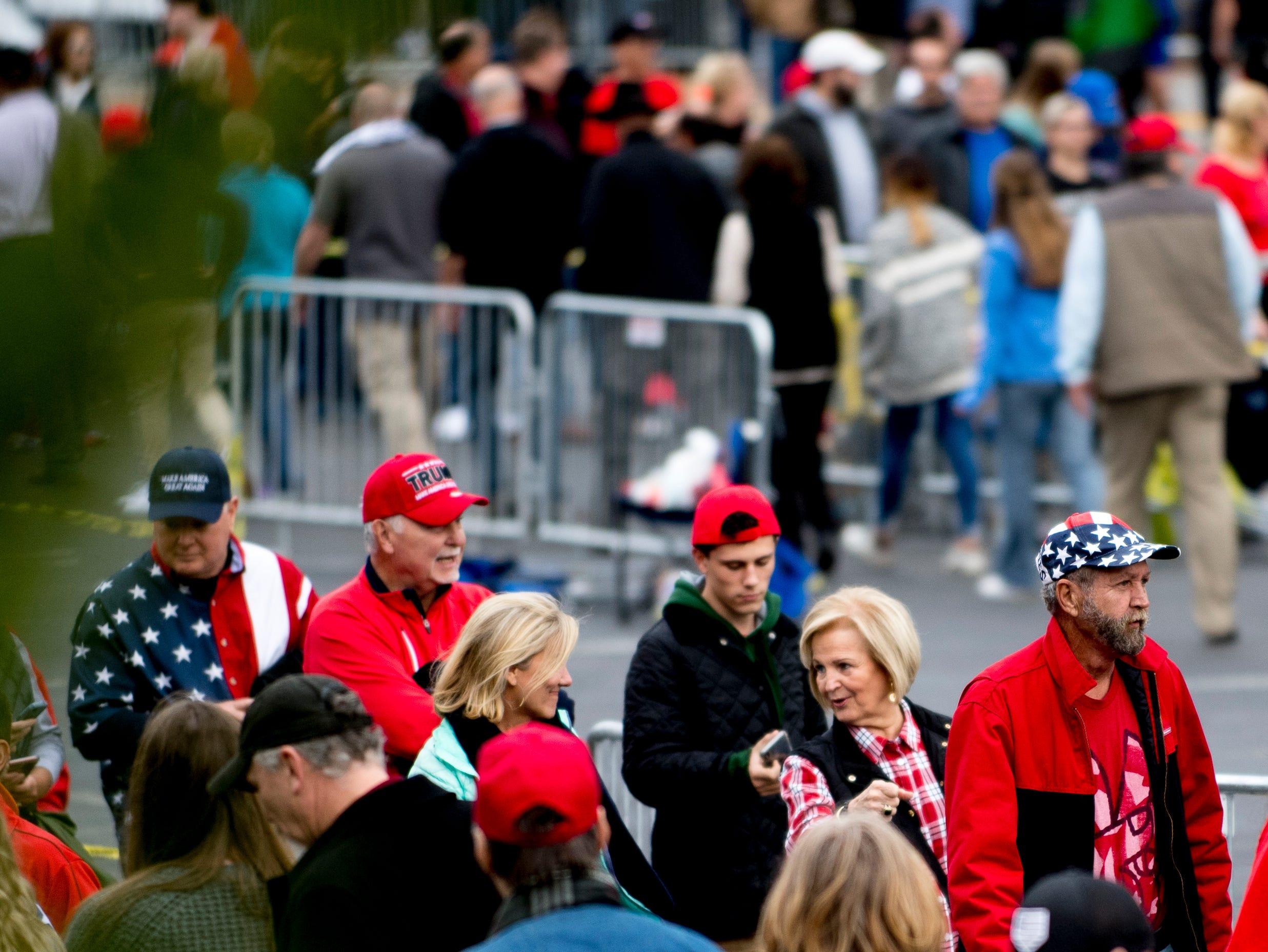 "Supporters wait in line ahead of President Donald J. Trump's ""Make America Great Again"" Rally at McKenzie Arena in Chattanooga, Tennessee on Sunday, November 4, 2018."