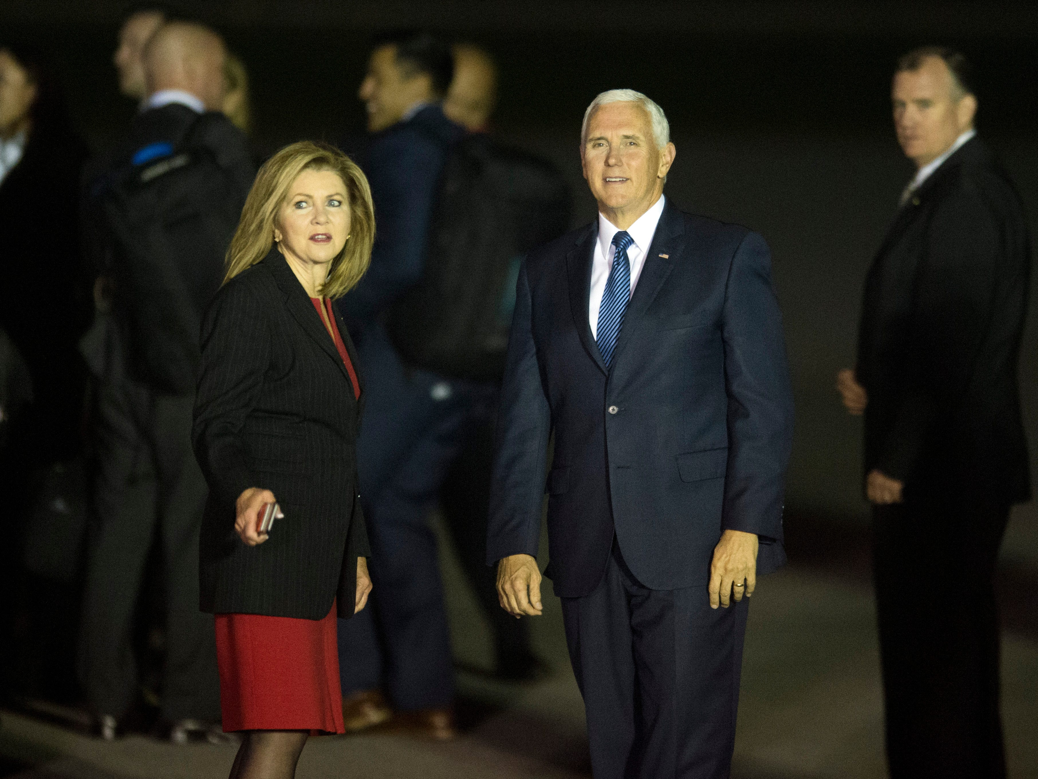 Vice President Mike Pence and Rep. Marsha Blackburn wait for the arrival of of President Donald Trump at Chattanooga Metropolitan Airport on Sunday, November 4, 2018.