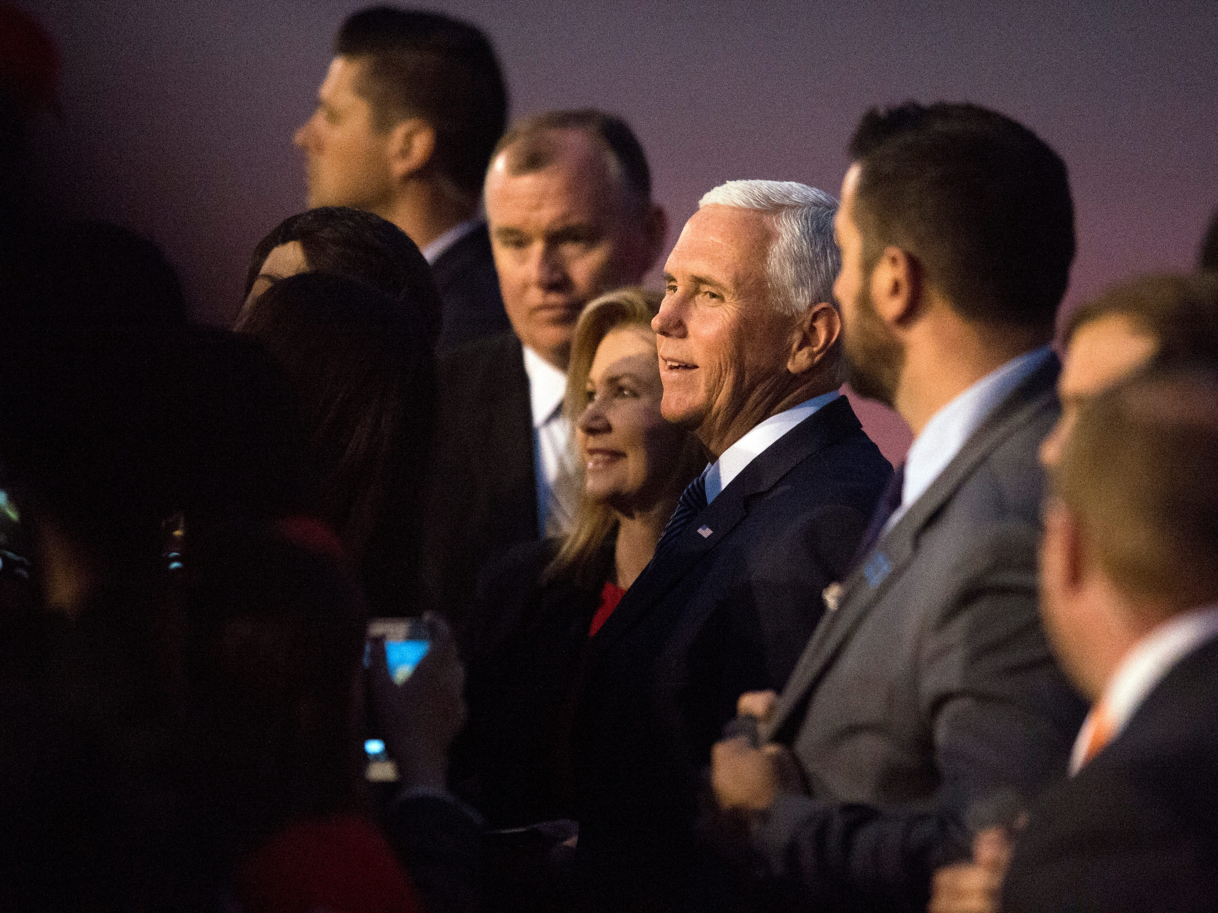 Vice President Mike Pence and Rep. Marsha Blackburn greet a crowd gathered at Wilson Air Center at the Chattanooga Metropolitan Airport on Sunday, November 4, 2018.