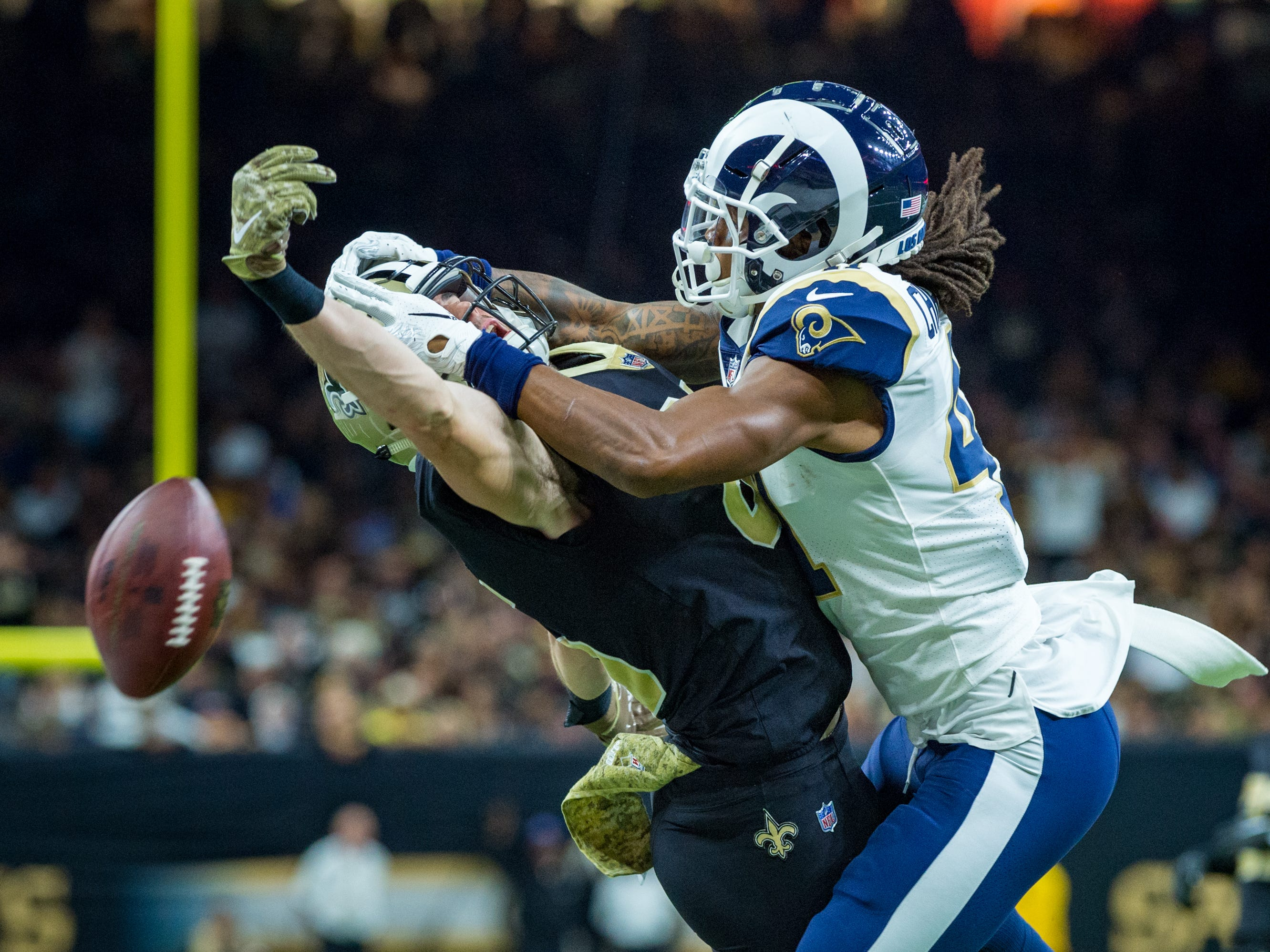 Marqui Christian breaks up a pass thrown to Saints tight end Dan Arnold during the NFL football game between the New Orleans Saints and the Los Angeles Rams on Sunday, Nov. 4, 2018.