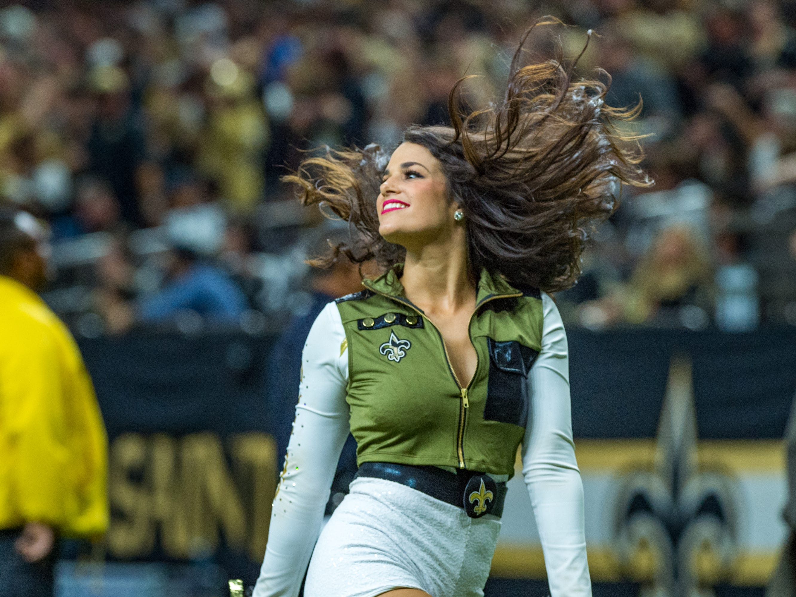 The Saintsations perform during the NFL football game between the New Orleans Saints and the Los Angeles Rams on Sunday, Nov. 4, 2018.
