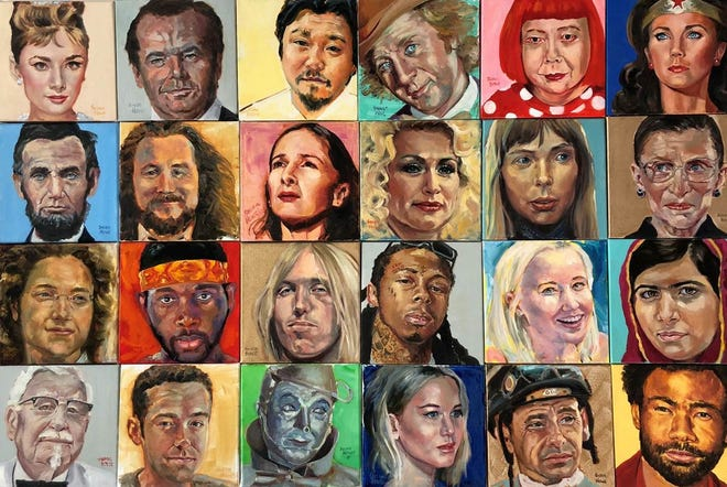 """100 oil portraits of famous faces from Louisville and world wide make up the exhibit called """"100 Faces"""" by Susan Howe"""