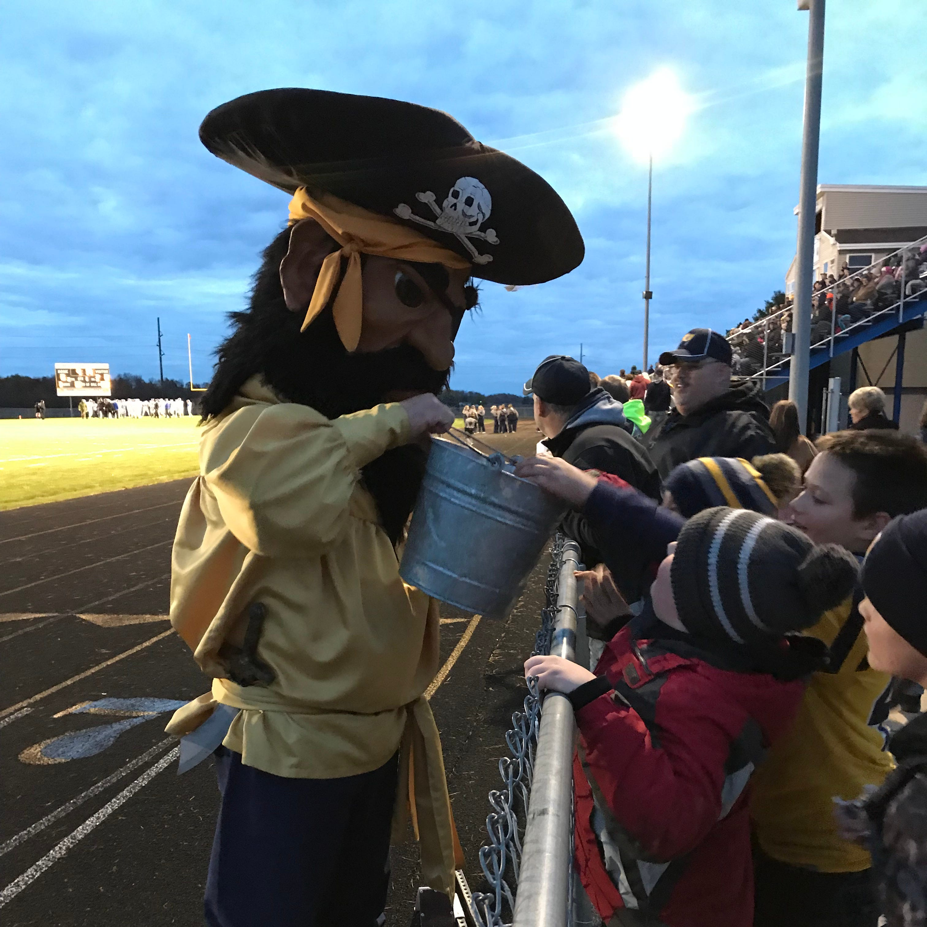 Pirate Pete is a mainstay at Pewamo-Westphalia High School sporting events, especially varsity football games. Randy Zenk, Pewamo's 54-year-old village president, has worn the costume at games for the past 13 years.