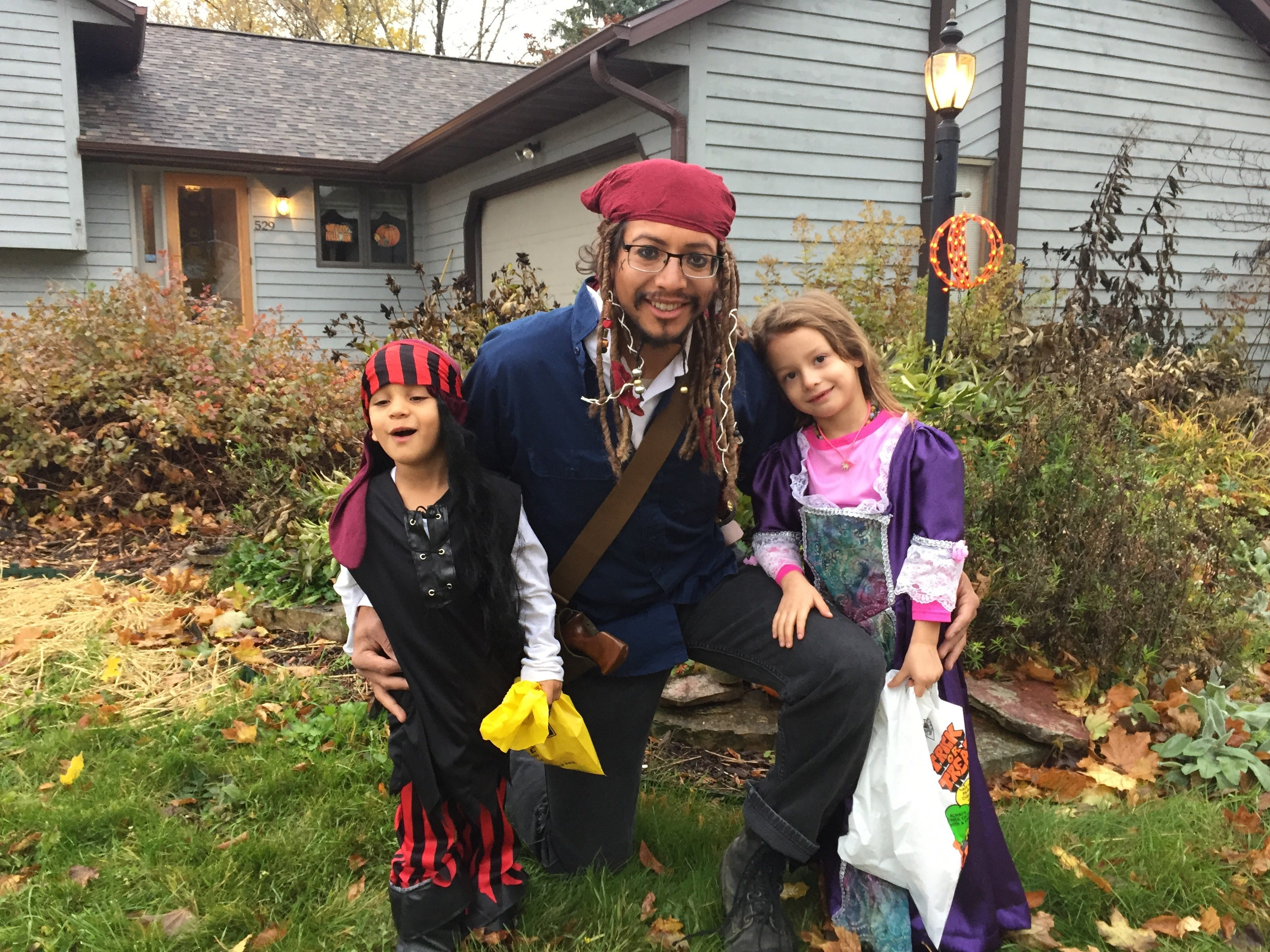 Willington Cowan, 32, Jameson Cowan,  4, and Sophie Cowan, 5, all dressed up for Halloween. Sophie's Grandma Barb designed and sewed her costume. Willington grew up in Fond du Lac, but currently lives with his family in Janesville.
